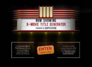B-Movie Title Generator Welcome Screen